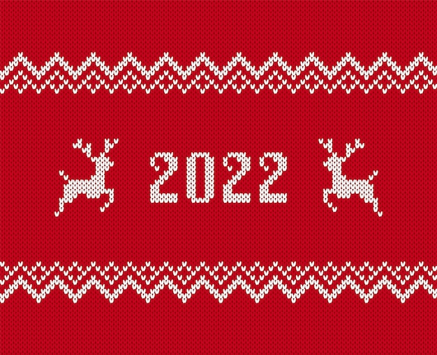 2022 brei naadloos patroon. kerst afdrukken. vector illustratie.