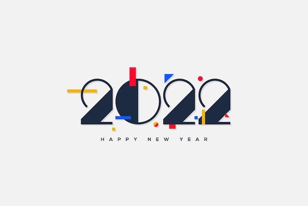 2022 donkerblauwe cijfers achtergrond en kleurrijke elementen