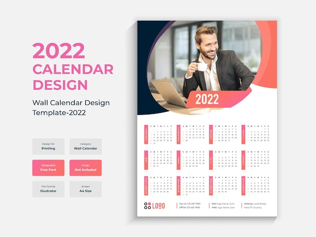 2022 enkele pagina wandkalender ontwerpsjabloon kleurrijke multifunctionele nieuwjaarskalender