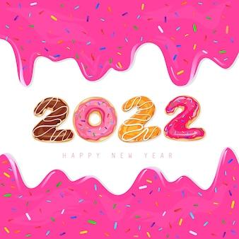 2022 gelukkig nieuwjaar. 2022 wenskaart met donuts en gedruppelde vloeibare roze karamel, verf. zoete vectorillustratie met kleurrijke vakantie label en confetti geïsoleerd op een witte achtergrond