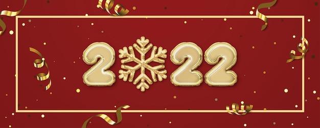 2022 gelukkig nieuwjaar achtergrond banner met het gouden nummer en sneeuwvlok