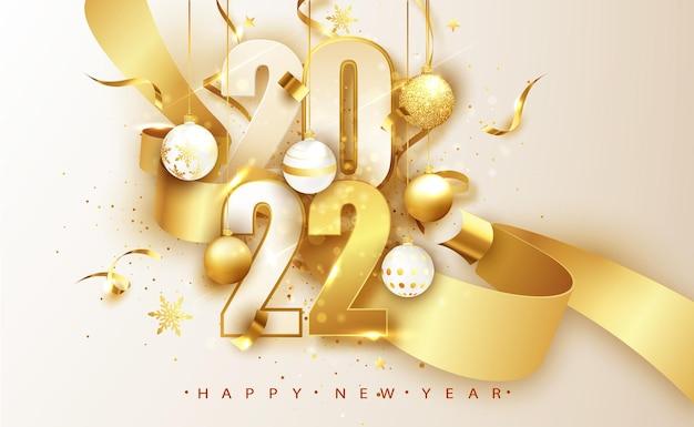 2022 gelukkig nieuwjaar achtergrond. banner met nummers datum 2022. vectorillustratie.