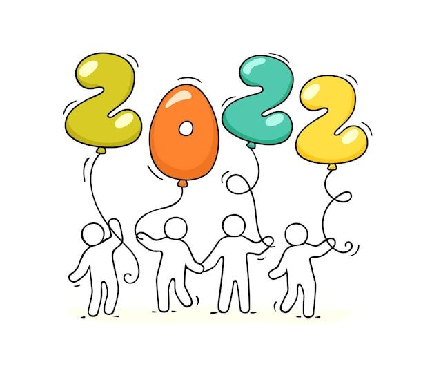 2022 gelukkig nieuwjaar achtergrond. cartoon doodle illustratie met kleine mensen die ballonnen houden.