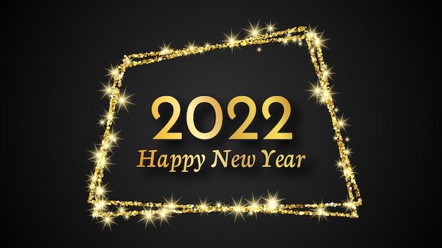 2022 gelukkig nieuwjaar achtergrond. gouden inscriptie in een gouden glitter frame voor kerstvakantie wenskaart, flyers of posters. vector illustratie