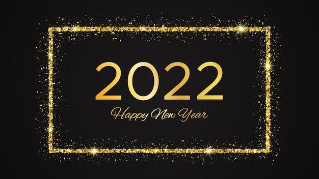 2022 gelukkig nieuwjaar achtergrond. gouden inscriptie in een gouden glitter rechthoek voor kerstvakantie wenskaart, flyers of posters. vector illustratie