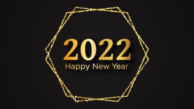 2022 gelukkig nieuwjaar achtergrond. gouden inscriptie in een gouden glitter voor kerstvakantie wenskaart, flyers of posters. vector illustratie