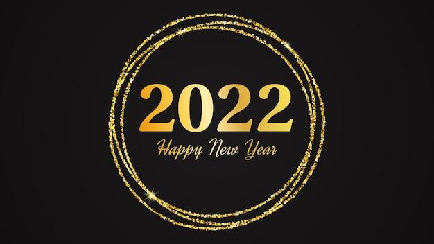 2022 gelukkig nieuwjaar achtergrond. gouden inscriptie in een gouden glittercirkel voor kerstvakantie wenskaart, flyers of posters. vector illustratie