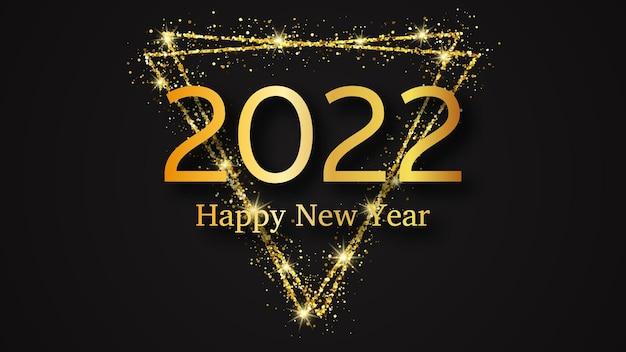 2022 gelukkig nieuwjaar achtergrond. gouden inscriptie in een gouden glitterdriehoek voor kerstvakantie wenskaart, flyers of posters. vector illustratie