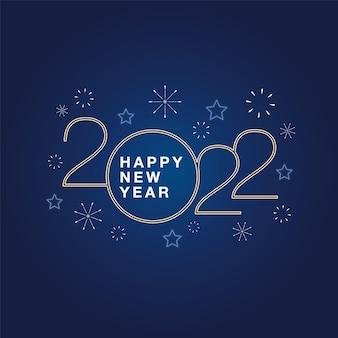 2022 gelukkig nieuwjaar achtergrond met gouden script tekst hand belettering op blauwe achtergrond met vuurwerk. vectorillustratie. ontwerpsjabloon viering typografie poster, spandoek of wenskaart.