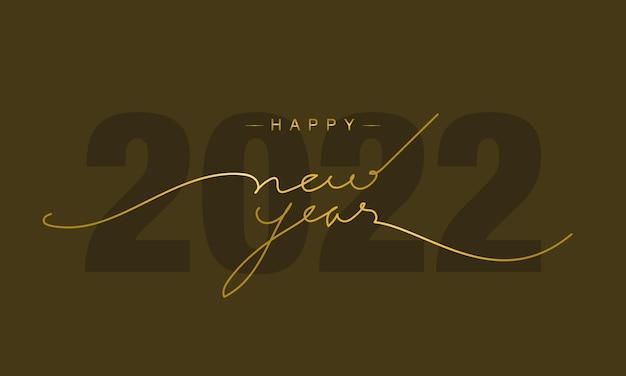 2022 gelukkig nieuwjaar achtergrond met gouden script tekst hand belettering op gouden achtergrond met vuurwerk. vectorillustratie. ontwerpsjabloon viering typografie poster, spandoek of wenskaart.