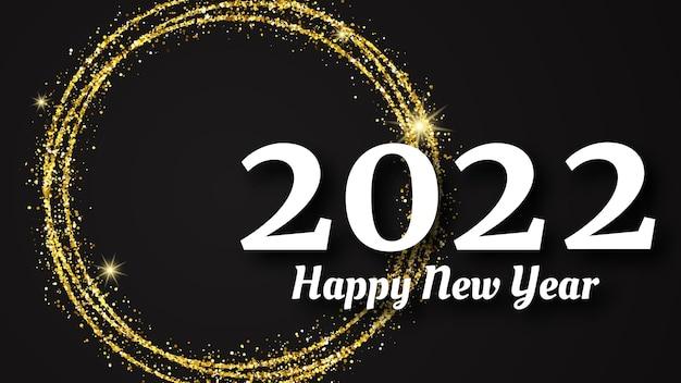 2022 gelukkig nieuwjaar achtergrond. witte inscriptie in een gouden glittercirkel voor kerstvakantie wenskaart, flyers of posters. vector illustratie