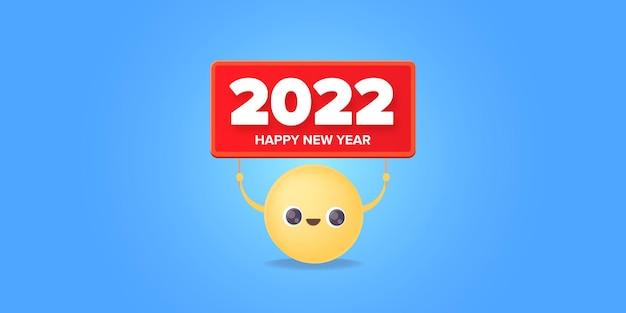 2022 gelukkig nieuwjaar banner ontwerpsjabloon met smileygezicht