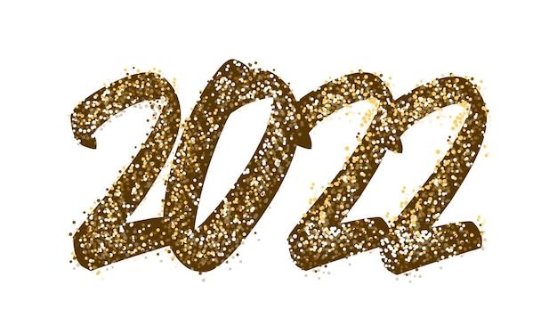 2022 gelukkig nieuwjaar belettering. tekst goudkleurig met heldere glitters. handgeschreven tekstbelettering in verf en kleur goud. feestelijke ontwerpsjabloon, wenskaart, poster, banner. vectorillustratie