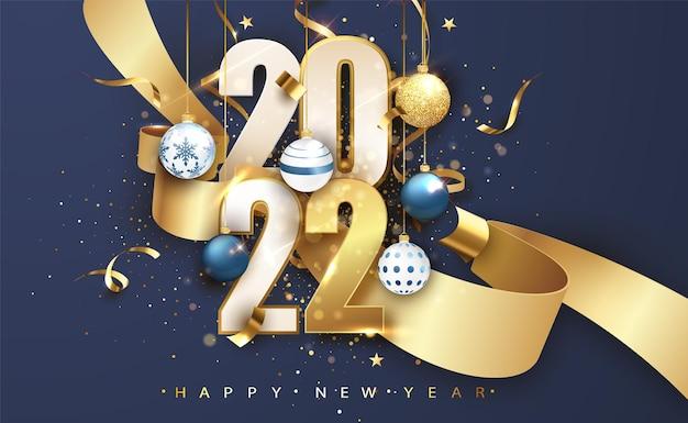 2022 gelukkig nieuwjaar. blauwe feestelijke achtergrond met cadeau boog en glitter. gelukkig nieuwjaar banner voor wenskaart, kalender.
