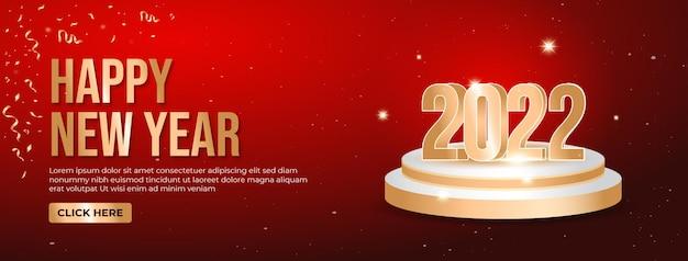 2022 gelukkig nieuwjaar elegante webbanner met gouden cijfers op rode achtergrond. vector luxe tekst 2022 nieuwjaar