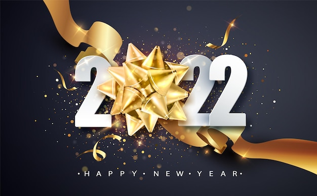 2022 gelukkig nieuwjaar. gelukkig nieuwjaar 2022 nieuwjaar glanzende achtergrond met gouden geschenk boog en glitter. gelukkig nieuwjaar banner voor wenskaart, kalender.