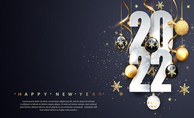 2022 gelukkig nieuwjaar. gelukkig nieuwjaar banner met getallen datum 2022. donkere achtergrond. vector illustratie
