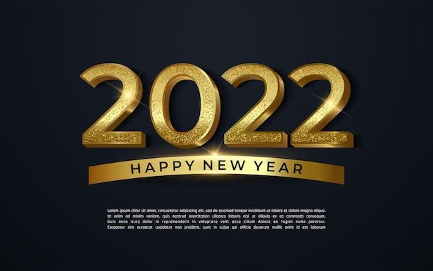 2022 gelukkig nieuwjaar glanzend goud met gouden glitter op een donkere achtergrond - vector illustrator