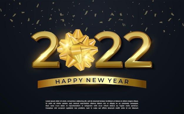 2022 gelukkig nieuwjaar glanzend goud met gouden lint pictogram op donkere achtergrond - vector illustrator