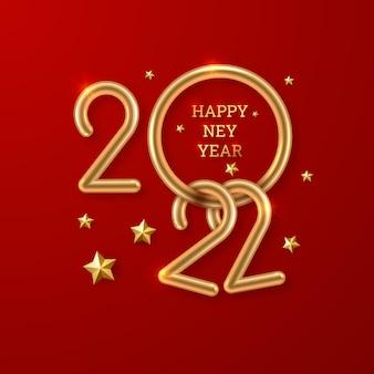 2022 gelukkig nieuwjaar goud glinsterende cijfers op een rode achtergrond