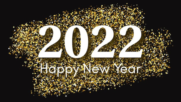 2022 gelukkig nieuwjaar gouden achtergrond. abstracte achtergrond met een witte inscriptie op donker voor kerstvakantie wenskaart, flyers of posters. vector illustratie