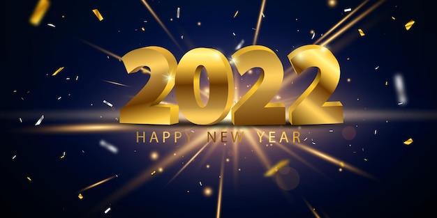 2022 gelukkig nieuwjaar gouden achtergrond en kerstthema viering feestbanner en kaarten.