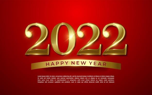 2022 gelukkig nieuwjaar gouden glans 2022 belettering op rode achtergrond - illustrator vector