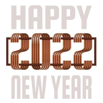 2022 gelukkig nieuwjaar lint gouden lettertype wenskaart. nieuwjaar en kerstmis ontwerp voor kalender, wenskaarten of afdrukken. minimalistische design trendy achtergronden.