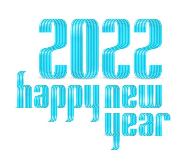2022 gelukkig nieuwjaar lint lettertype wenskaart. nieuwjaar en kerstmis ontwerp voor kalender, wenskaarten of afdrukken. minimalistische design trendy achtergronden.