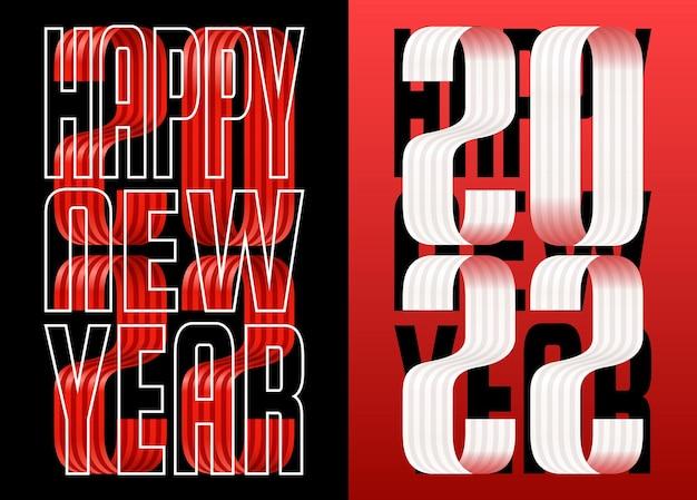 2022 gelukkig nieuwjaar lint rode lettertype wenskaart. nieuwjaar en kerstmis ontwerp voor kalender, wenskaarten of afdrukken. minimalistische design trendy achtergronden.