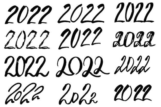 2022 gelukkig nieuwjaar logo tekst ontwerp grote set 2022 nummer ontwerpsjabloon hand getrokken collectie