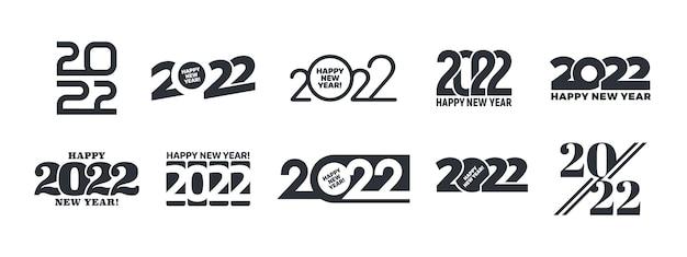 2022 gelukkig nieuwjaar logo verschillende variaties tekstontwerpsjablonen ingesteld op witte achtergrond