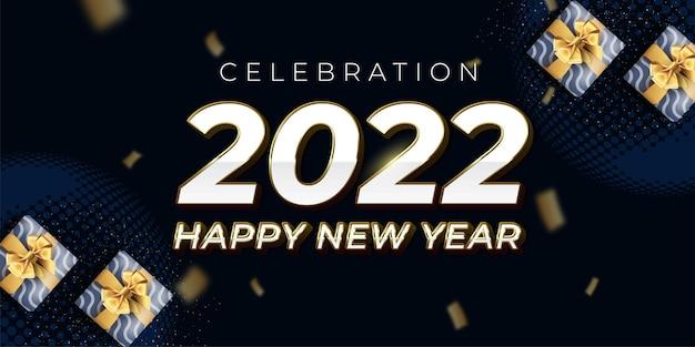 2022 gelukkig nieuwjaar luxe ontwerp op een donkere en gouden achtergrond