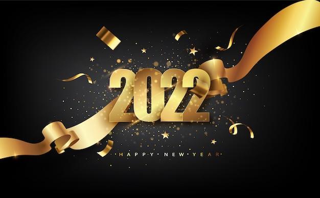 2022 gelukkig nieuwjaar met gouden geschenkstrik, confetti, witte cijfers.