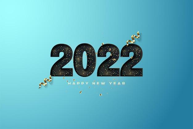 2022 gelukkig nieuwjaar met zwarte papercut-nummers