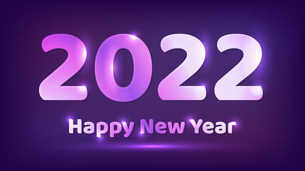 2022 gelukkig nieuwjaar neon achtergrond. abstracte neon achtergrond met verlichting voor kerstvakantie wenskaart, flyers of posters. vector illustratie