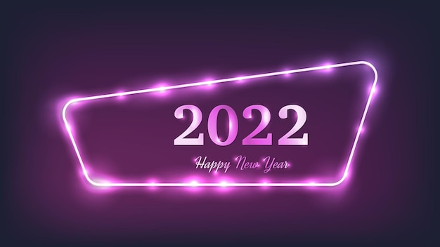 2022 gelukkig nieuwjaar neon achtergrond. neon afgerond frame met glanzende effecten voor kerstvakantie wenskaart, flyers of posters. vector illustratie