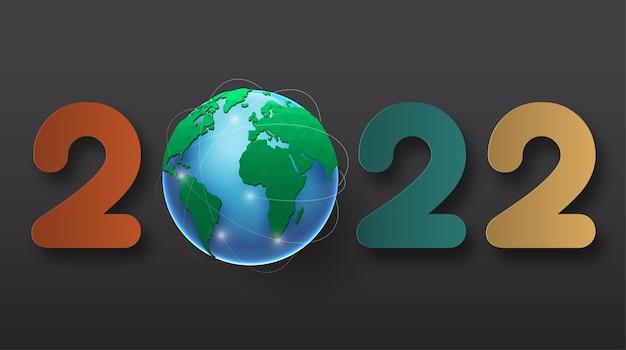 2022 gelukkig nieuwjaar. nummers 3d-stijl. vector lineaire getallen. ontwerp van wenskaarten. vectorillustratie. gratis vector.