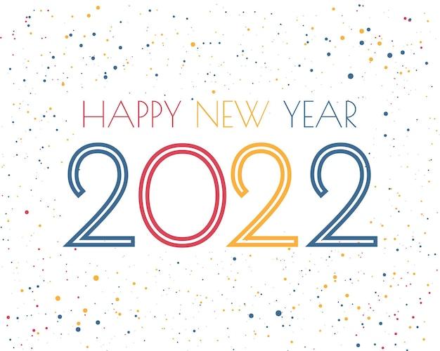 2022 gelukkig nieuwjaar. nummers minimalistische stijl. vector lineaire getallen. ontwerp van wenskaarten. vectorillustratie. gratis vector.
