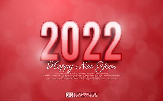 2022 gelukkig nieuwjaar ontwerp in nummer rode glanzende stijl