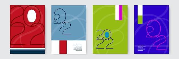 2022 gelukkig nieuwjaar set vectorillustraties ontwerpsjablonen met logo 2022 minimalistische achtergro...