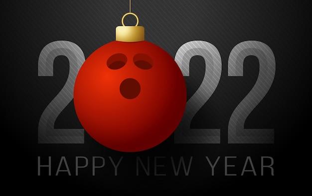2022 gelukkig nieuwjaar. sport wenskaart met bowlingbal op de luxe achtergrond. vector illustratie.