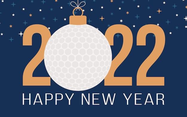 2022 gelukkig nieuwjaar. sport wenskaart met golfbal op de hemel ster blauwe achtergrond. vector illustratie.