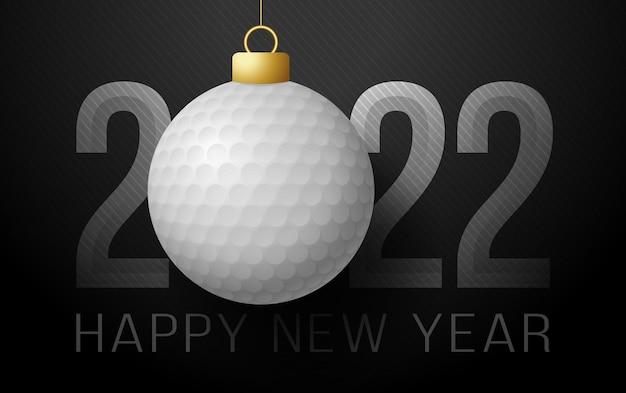 2022 gelukkig nieuwjaar. sport wenskaart met golfbal op de luxe achtergrond. vector illustratie.