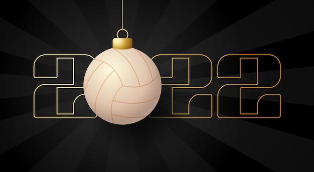 2022 gelukkig nieuwjaar. sport wenskaart met gouden volleybal bal op de luxe achtergrond. vector illustratie.