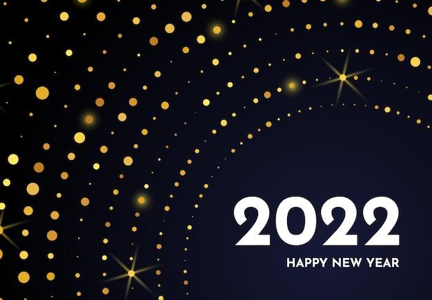 2022 gelukkig nieuwjaar van gouden glitterpatroon in cirkelvorm. abstracte gouden gloeiende halftone gestippelde achtergrond voor kerstvakantie wenskaart op donkere achtergrond. vector illustratie