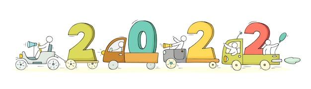 2022 gelukkig nieuwjaarconcept met auto's. cartoon vector met kleine mensen bereiden zich voor op feest.