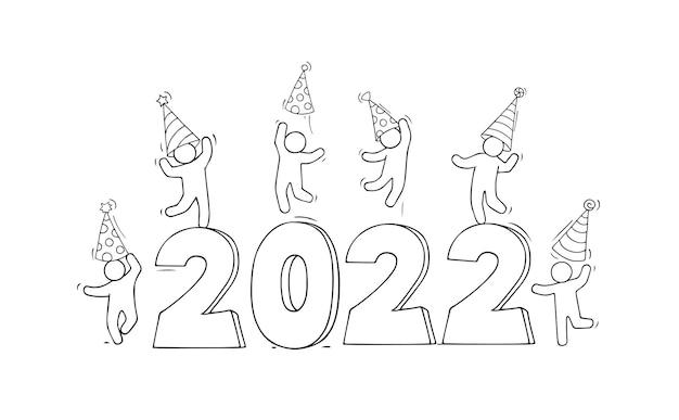 2022 gelukkig nieuwjaarskaart. cartoon doodle illustratie met kleine mensen bereiden zich voor op feest.