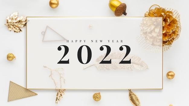 2022 gelukkig nieuwjaarskaart goud en wit marmer ontwerp vector