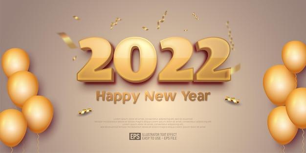 2022 gelukkig nieuwjaarsontwerp op een vervaagde kleurenachtergrond